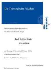 Gedenkgottesdienst Prof. Dr. Walter